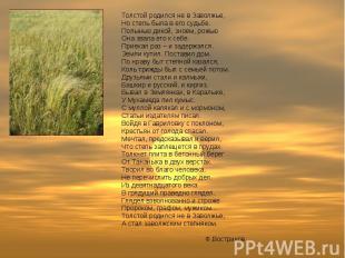Толстой родился не в Заволжье, Но степь была в его судьбе. Полынью дикой, зноем,