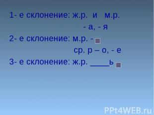 1- е склонение: ж.р. и м.р. 1- е склонение: ж.р. и м.р. - а, - я2- е склонение: