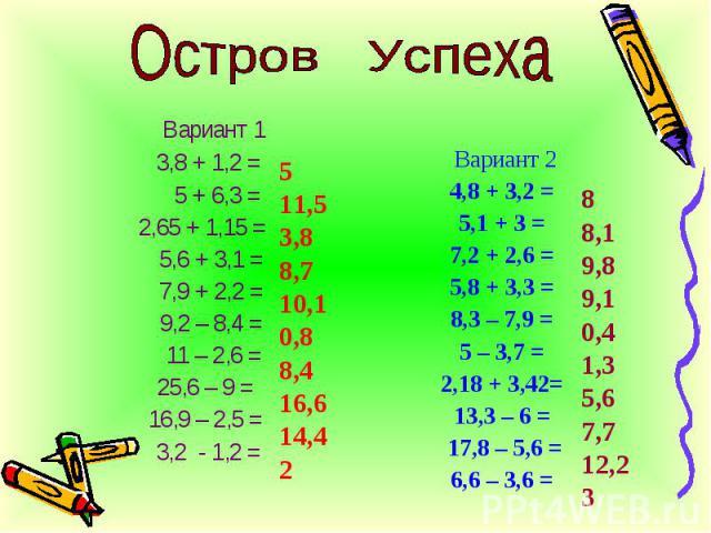 Вариант 1 3,8 + 1,2 = 5 + 6,3 = 2,65 + 1,15 = 5,6 + 3,1 = 7,9 + 2,2 = 9,2 – 8,4 = 11 – 2,6 = 25,6 – 9 = 16,9 – 2,5 = 3,2 - 1,2 = Вариант 2 4,8 + 3,2 = 5,1 + 3 = 7,2 + 2,6 = 5,8 + 3,3 = 8,3 – 7,9 = 5 – 3,7 = 2,18 + 3,42= 13,3 – 6 = 17,8 – 5,6 = 6,6 –…