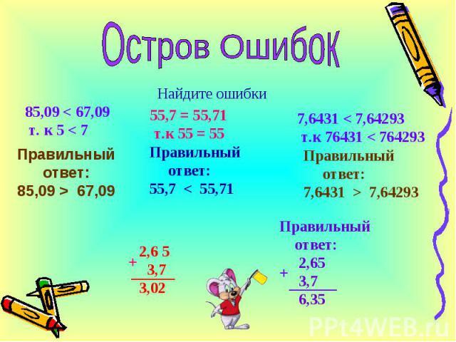 Найдите ошибки 85,09 < 67,09 т. к 5 < 7 55,7 = 55,71 т.к 55 = 55 7,6431 < 7,64293 т.к 76431 < 764293 Правильный ответ: 85,09 > 67,09 Правильный ответ: 55,7 < 55,71 Правильный ответ: 7,6431 > 7,64293 2,6 5 3,73,02 + Правильный ответ: 2,65 3,7 6,35 +