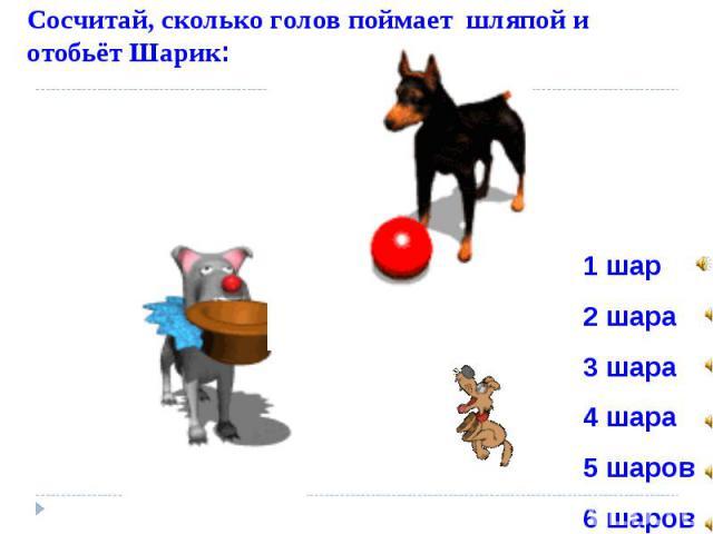 Сосчитай, сколько голов поймает шляпой и отобьёт Шарик: 1 шар 2 шара 3 шара 4 шара 5 шаров 6 шаров