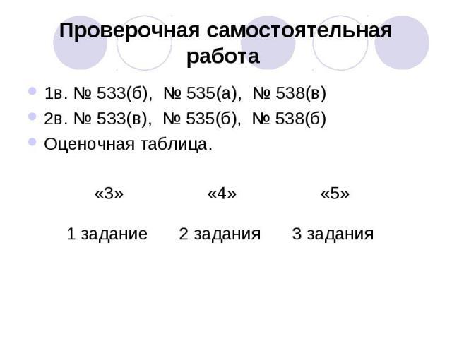 Проверочная самостоятельная работа 1в. № 533(б), № 535(а), № 538(в)2в. № 533(в), № 535(б), № 538(б)Оценочная таблица.