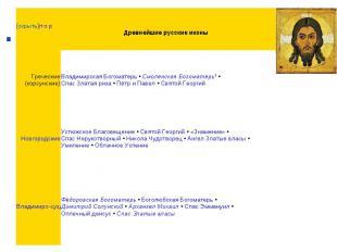 [скрыть]п·о·р Древнейшие русские иконы Греческие (корсунские) Владимирская Богом