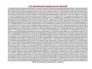 Сто миллионов знаков после запятой 3,1415926535897932384626433832795028841971693