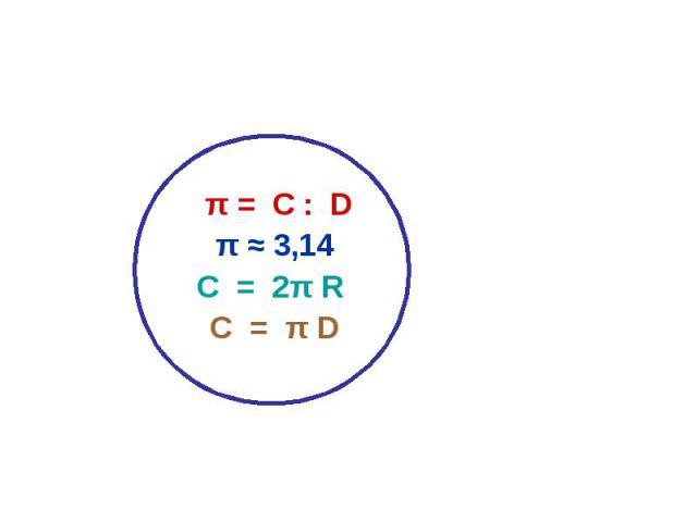 π = С : Dπ ≈ 3,14С = 2π R С = π D