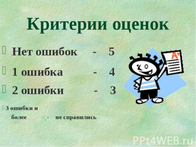 1 ошибка - 4 2 ошибки - 3 3 ошибки и более - не справились Критерии оценок Нет ошибок - 5