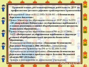 Федеральный закон от10.12.1995г №196-ФЗ « О безопасности дорожного движения»; Пр
