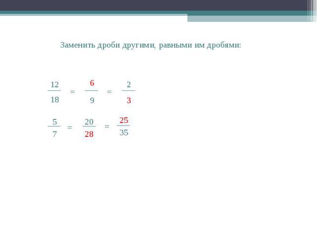 28 20 ___ 5 7 = ___ Заменить дроби другими, равными им дробями: 18 ___ 12 = 9 ___ 6 ___ = 2 3 = 35 ___ 25