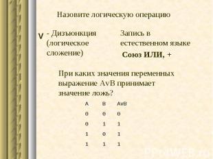 1 1 1 1 0 1 1 1 0 0 0 0 AvB В А - Дизъюнкция (логическое сложение) При каких зна