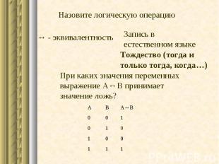 1 1 1 0 0 1 0 1 0 1 0 0 A↔B В А - эквивалентность При каких значения переменных