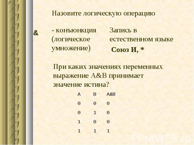 1 1 1 0 0 1 0 1 0 0 0 0 A&B В А - конъюнкция (логическое умножение) При каких значениях переменных выражение А&B принимает значение истина? Запись в естественном языке & Союз И, * Назовите логическую операцию