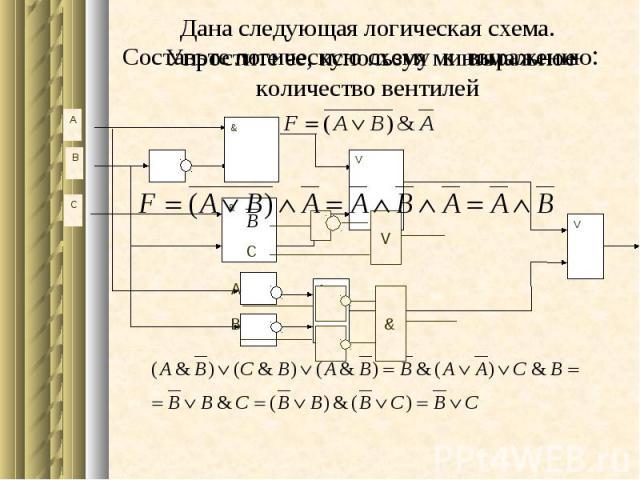 A & B C & & V V V C Составьте логическую схему к выражению: & A B Дана следующая логическая схема. Упростите ее, используя минимальное количество вентилей