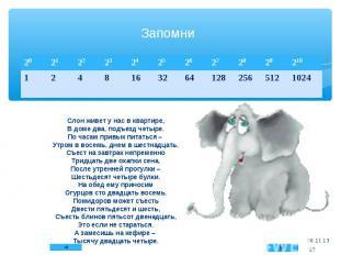Слон живет у нас в квартире, В доме два, подъезд четыре. По часам привык питатьс