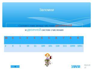 Соответствие между числами десятичной и двоичной систем счисления * Запомни * 10