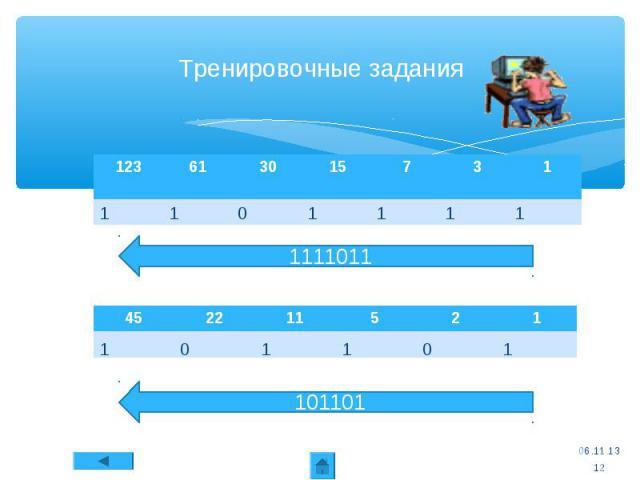 123 61 30 15 7 3 1 * Тренировочные задания 101101 * 45 22 11 5 2 1 Способ перевода числа из десятичной системы в двоичную 1111011 1 1 1 1 0 1 1 1 0 1 1 0 1