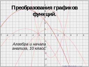 Преобразования графиков функций.Алгебра и начала анализа, 10 класс.