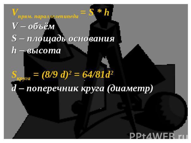 Vпрям. параллелепипеда = S * hV – объёмS – площадь основанияh – высотаSкруга = (8/9 d)2 = 64/81d2d – поперечник круга (диаметр)