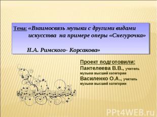 Тема: «Взаимосвязь музыки с другими видами искусства на примере оперы «Снегурочк