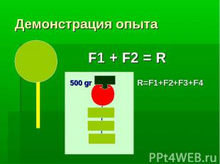 F1 + F2 = R 500 gr R=F1+F2+F3+F4 Демонстрация опыта