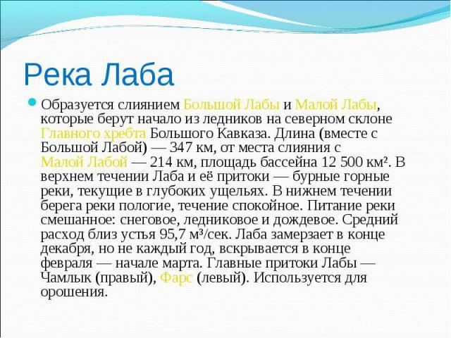 Река Лаба Образуется слиянием Большой Лабы и Малой Лабы, которые берут начало из ледников на северном склоне Главного хребта Большого Кавказа. Длина (вместе с Большой Лабой) — 347 км, от места слияния с Малой Лабой — 214 км, площадь бассейна 12 500 …