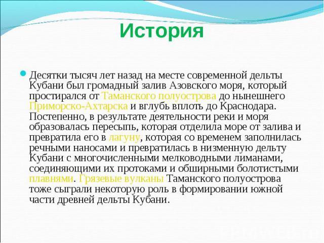 История Десятки тысяч лет назад на месте современной дельты Кубани был громадный залив Азовского моря, который простирался от Таманского полуострова до нынешнего Приморско-Ахтарска и вглубь вплоть до Краснодара. Постепенно, в результате деятельности…