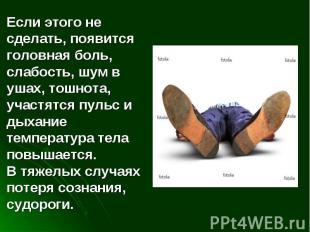 Если этого не сделать, появится головная боль, слабость, шум в ушах, тошнота, уч