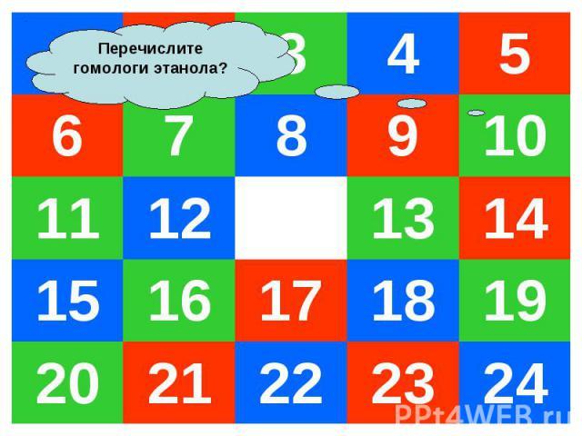 1 2 3 4 5 6 7 8 9 10 11 12 13 14 15 16 17 18 19 20 21 22 23 24 Перечислите гомологи этанола?