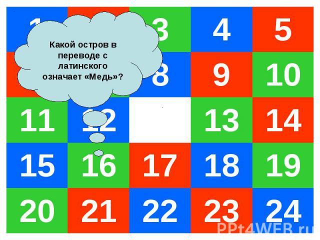 1 2 3 4 5 6 7 8 9 10 11 12 13 14 15 16 17 18 19 20 21 22 23 24 Какой остров в переводе с латинского означает «Медь»?