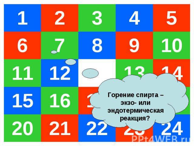1 2 3 4 5 6 7 8 9 10 11 12 13 14 15 16 17 18 19 20 21 22 23 24 Горение спирта –экзо- или эндотермическая реакция?