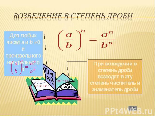 Для любых чисел a и b 0 и произвольного натурального n При возведении в степень дроби возводят в эту степень числитель и знаменатель дроби