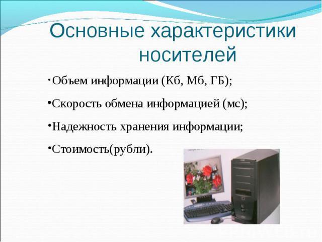 Основные характеристики носителей Объем информации (Кб, Мб, ГБ); Скорость обмена информацией (мс); Надежность хранения информации; Стоимость(рубли).
