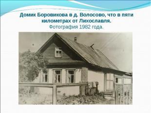 Домик Боровикова в д. Волосово, что в пяти километрах от Лихославля. Фотография