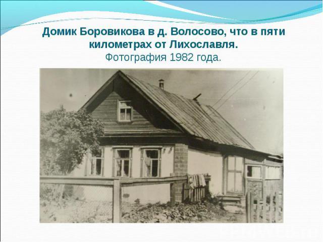 Домик Боровикова в д. Волосово, что в пяти километрах от Лихославля. Фотография 1982 года.