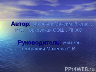 Автор: Зиновьев Максим; 8 класс; МОУ Горковская СОШ., ЯНАО. Руководитель: учител