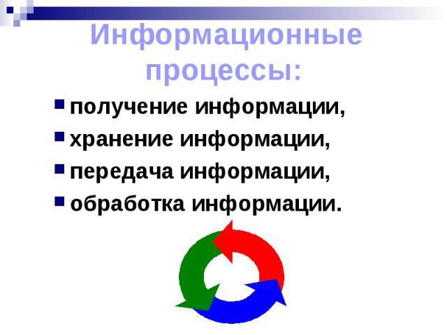 Информационные процессы:получение информации, хранение информации, передача информации, обработка информации.