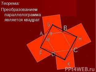 Теорема:Теорема:Преобразованием параллелограмма является квадрат