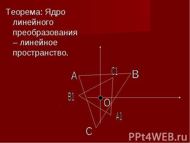 Теорема: Ядро линейного преобразования – линейное пространство.