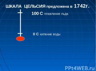 0 С кипение воды 100 С плавление льда ШКАЛА ЦЕЛЬСИЯ предложена в 1742г.