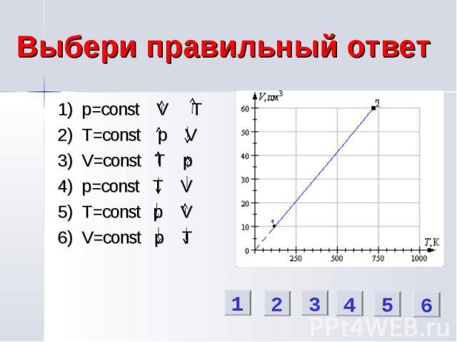 Выбери правильный ответ 1) p=const V T 2) T=const p V 3) V=const T p 4) p=const T V 5) T=const p V 6) V=const p T 1 2 3 4 5 6