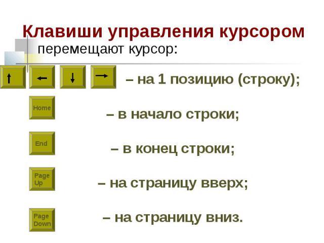 – на 1 позицию (строку); – в начало строки; – в конец строки; – на страницу вверх; – на страницу вниз. Home End PageDown PageUp Клавиши управления курсором перемещают курсор: