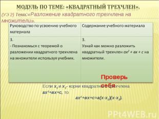 (УЭ 2) Тема:«Разложение квадратного трехчлена на множители». Проверь себя Если х