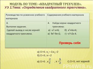 УЭ 1.Тема: «Определение квадратного трехчлена». Проверь себя а) D>0, х1=-3,х2=2