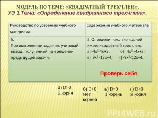 УЭ 1.Тема: «Определение квадратного трехчлена». Проверь себя а) D>0 2 корня г) D