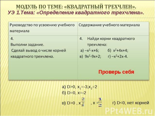 УЭ 1.Тема: «Определение квадратного трехчлена». Проверь себя а) D>0, х1=-3,х2=2 б) D=0, х=-2 в) D>0 , х = г) D