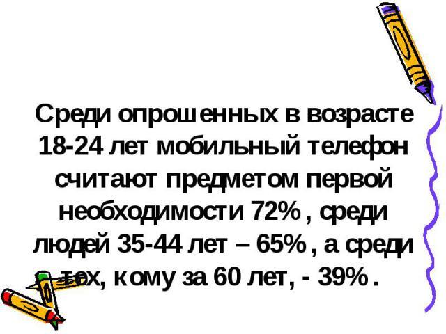 Среди опрошенных в возрасте 18-24 лет мобильный телефон считают предметом первой необходимости 72%, среди людей 35-44 лет – 65%, а среди тех, кому за 60 лет, - 39%.