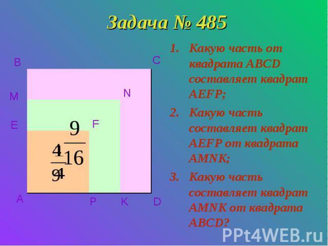 Задача № 485 Какую часть от квадрата ABCD составляет квадрат AEFP; Какую часть составляет квадрат AEFP от квадрата AMNK; Какую часть составляет квадрат AMNK от квадрата ABCD? A B C D E M P K N F