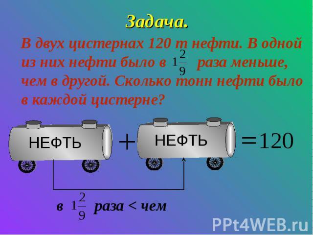 Задача. В двух цистернах 120 т нефти. В одной из них нефти было в раза меньше, чем в другой. Сколько тонн нефти было в каждой цистерне? в раза < чем