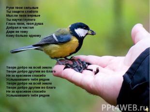 Руки твои сильные Ты защити слабого Мысли твои верные Ты научи глупого Глаза тво