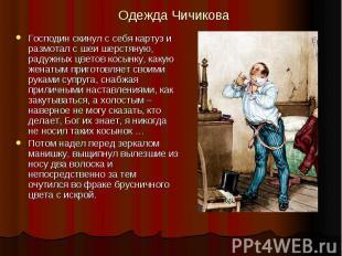 Одежда Чичикова Господин скинул с себя картуз и размотал с шеи шерстяную, радужн