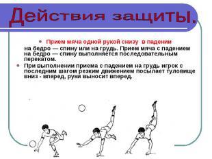 Прием мяча одной рукой снизу в падении на бедро — спину или на грудь. Прием мяча